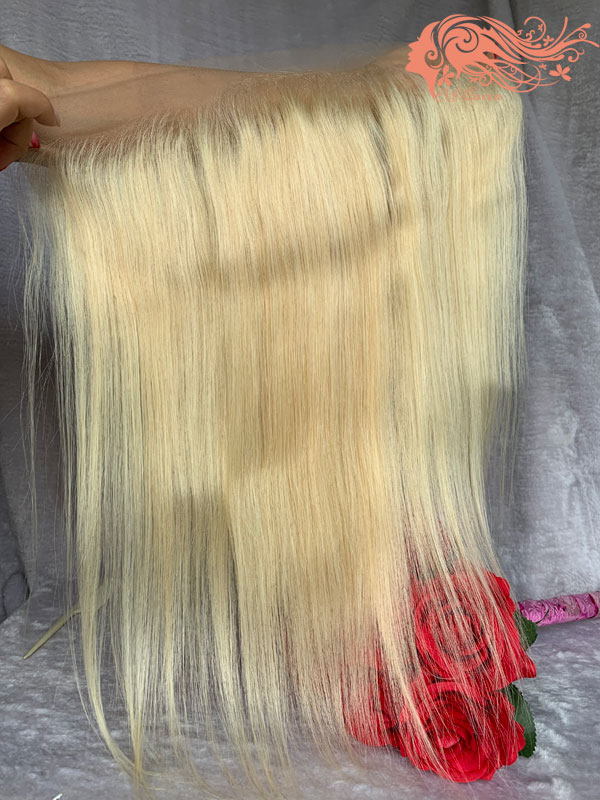 "Csqueen 9A 613 blonde 13x4"" brazilian Straight human hair lace frontal"