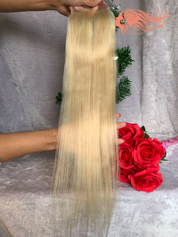 Csqueen 9A Straight 4X4 #613 Blonde Lace Closure 100% Human Hair