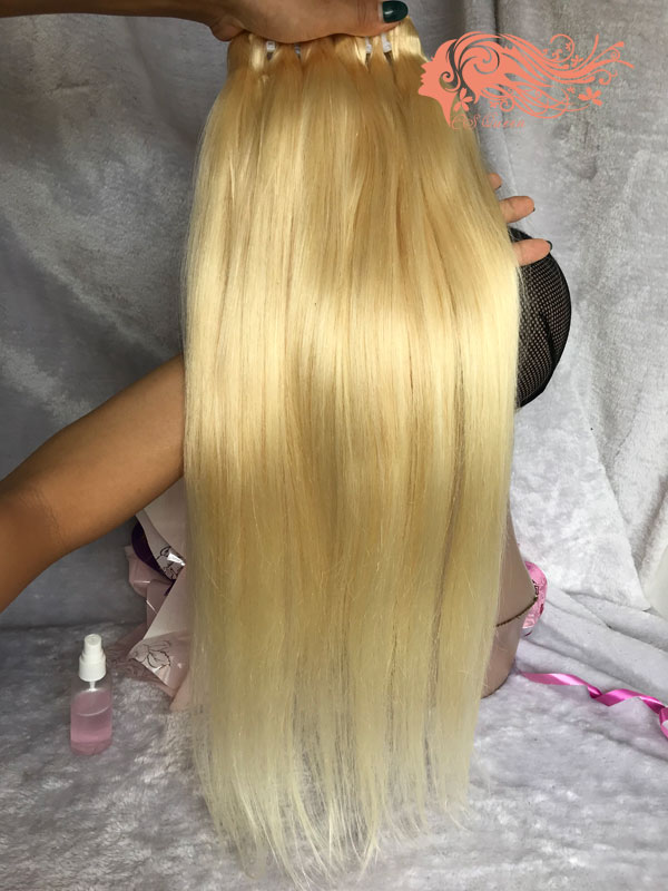 Csqueen 8A 613 Blonde Straight hair 3 Bundles with Closure Human Hair Unprocessed Hair