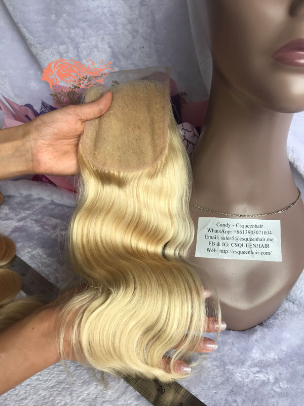 Csqueen 9A Body wave 4X4 #613 Blonde Lace Closure 100% Human Hair