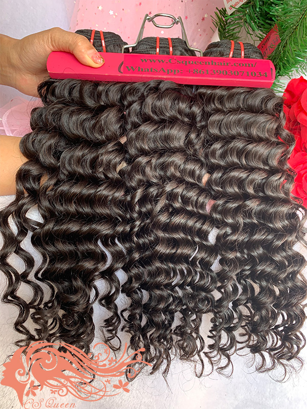 Csqueen 7A Italian Wave 4 Bundles Natural Black Color 100% Human Hair
