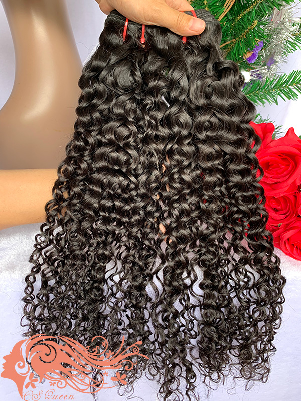 Csqueen 7A Jerry Curly 4 Bundles 100% Human Hair Unprocessed Hair