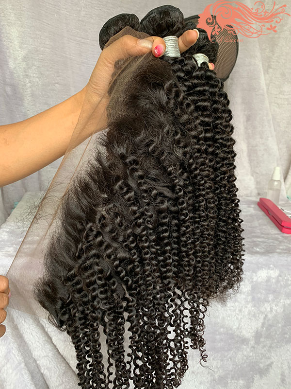 Csqueen 7A Kinky Curly 3 Bundles with Frontal Virgin Hair 100% Unprocessed Human Hair