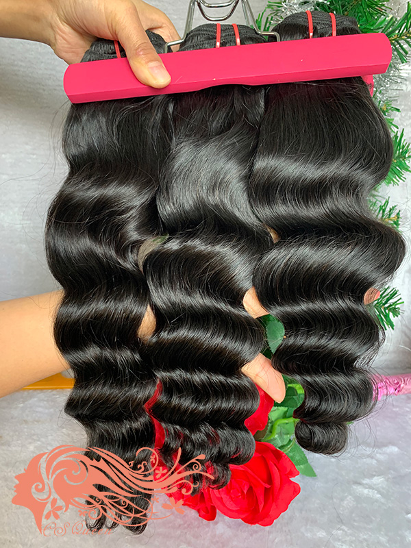 Csqueen 7A Loose Curly 4 Bundles Virgin Hair 100% Unprocessed Human Hair