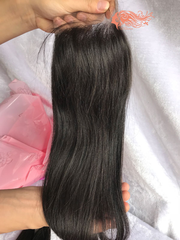 Csqueen 7A Straight Hair 3 Bundles with closure Natural Black Color Straight Hair