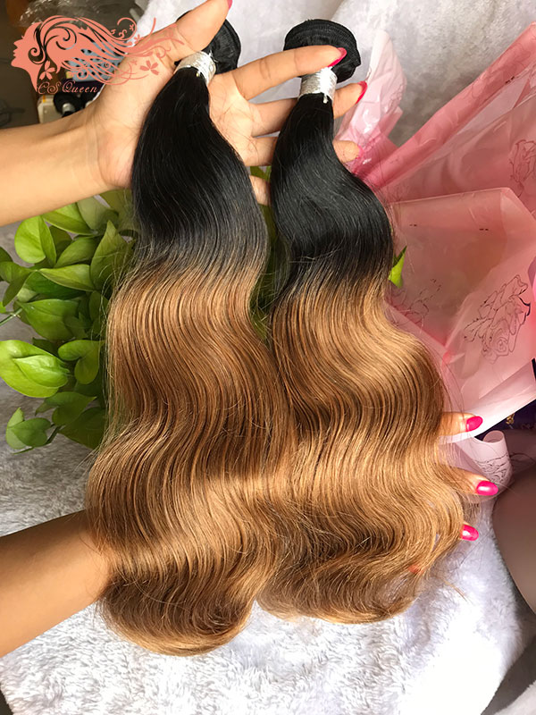 Csqueen 8A Ombre Color 1B/27# Body Wave Hair 3 Bundles Virgin Hair