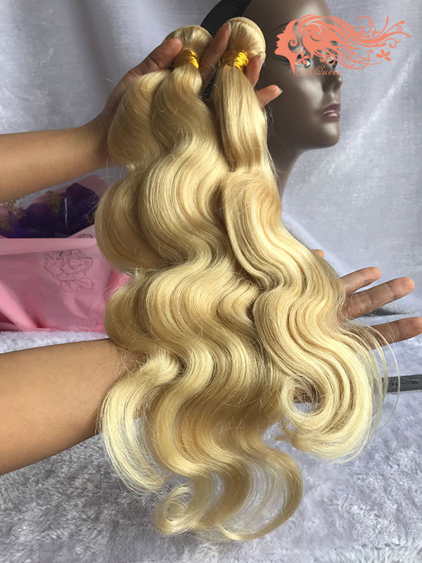 Csqueen 8A 613 Blonde Body wave 3Bundles with Frontal Human Hair Unprocessed Hair