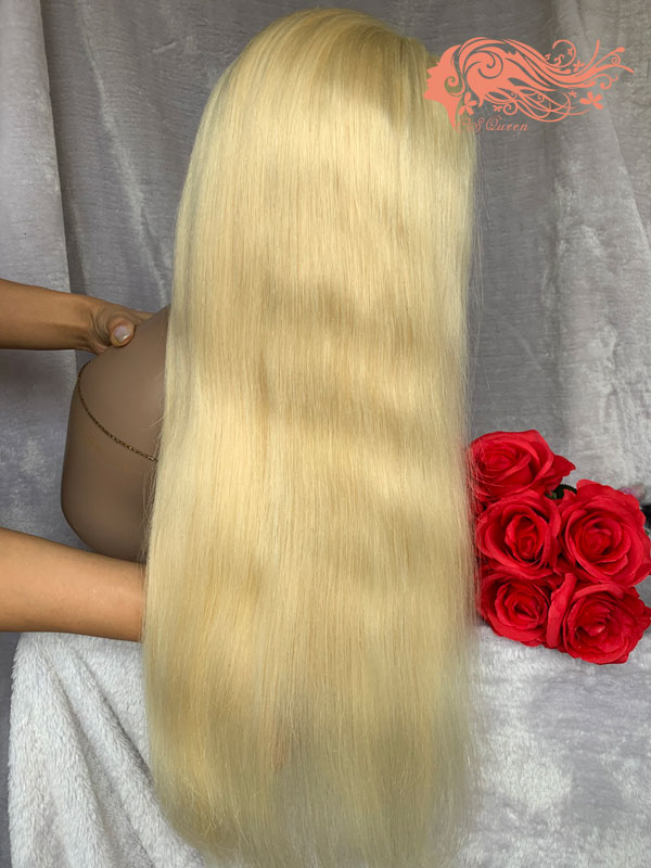 Csqueen 8A Straight Full lace WIG #613 Blonde 100% Human Hair 150%density