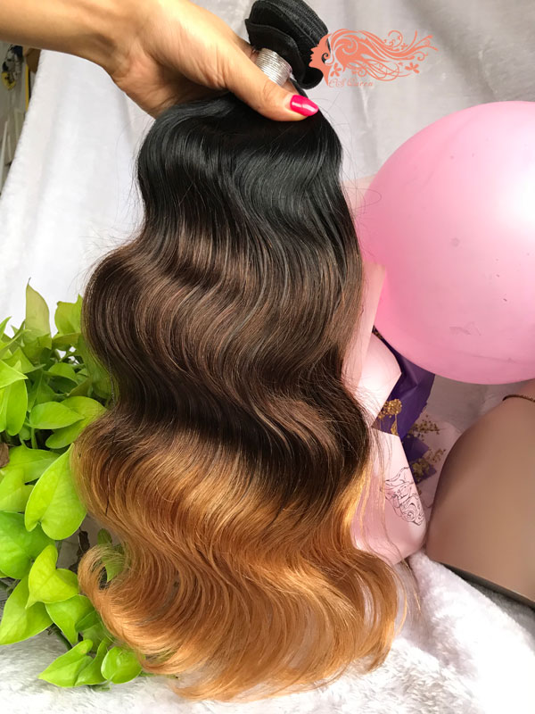 Csqueen 8A Ombre Color 1B/4/27# Body Wave Hair 3 Bundles virgin Hair