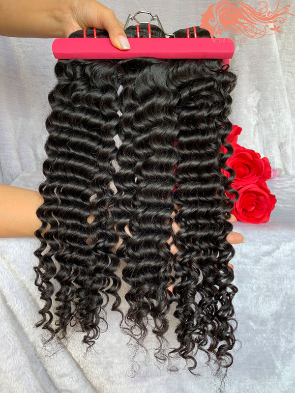Csqueen 8A Deep Wave 3 Bundles 100% Human Hair Unprocessed Natural Hair