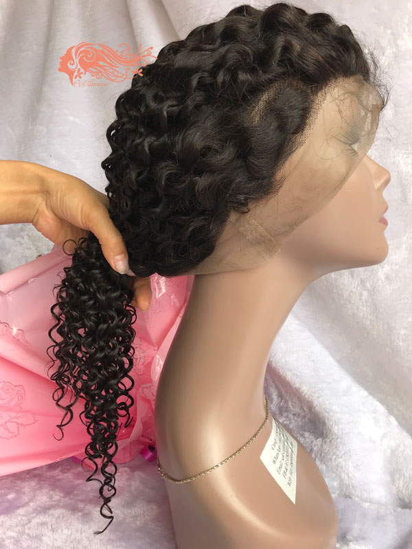 Csqueen 8A Jerry Curly Full lace WIG 100% Virgin Hair 150%density