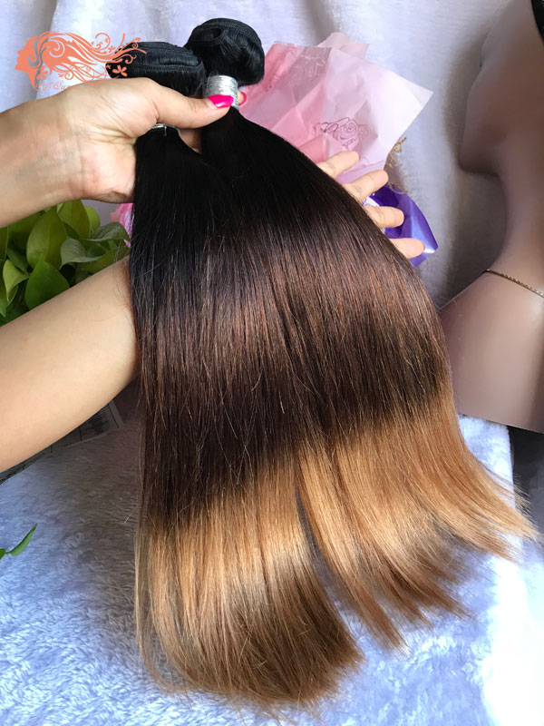 Csqueen 8A Ombre Color 1B/4/27# Straight Hair 3 Bundles Human Hair