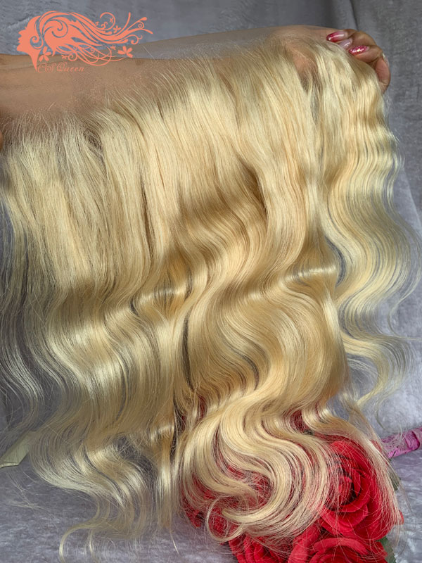 "Csqueen 8A 613 blonde 13x4"" frontal body wave 100%human hair"
