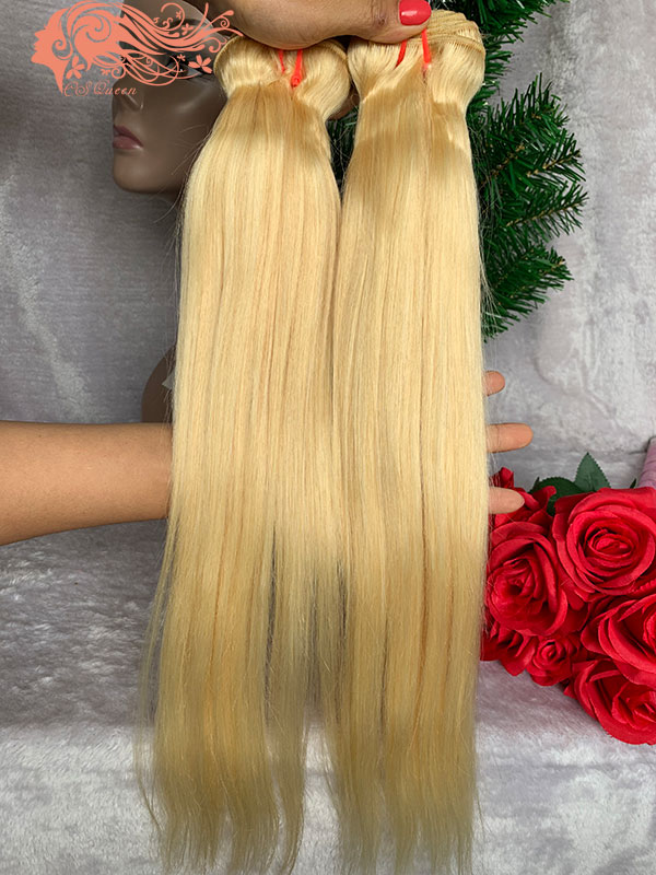 Csqueen 8A 613 Blonde Straight hair 3Bundles with Frontal Unprocessed Hair Human Hair