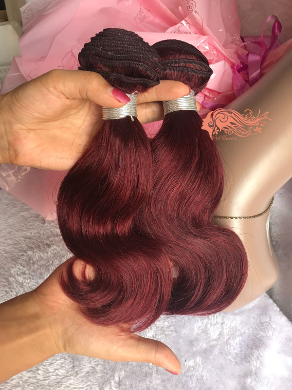 Csqueen 8A 99J Body Virgin Human Hair Extension Red Wine Color