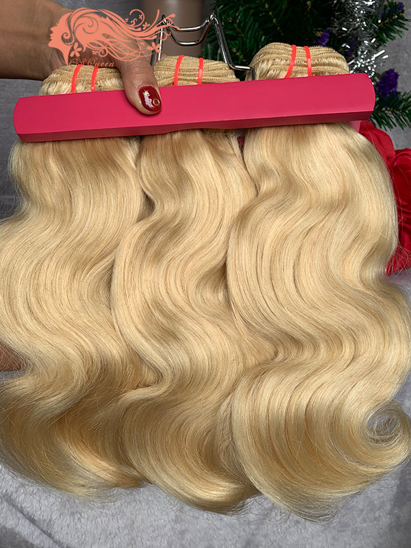 Csqueen 9A 613 Blonde Body wave 3Bundles with Closure Unprocessed Hair Human Hair