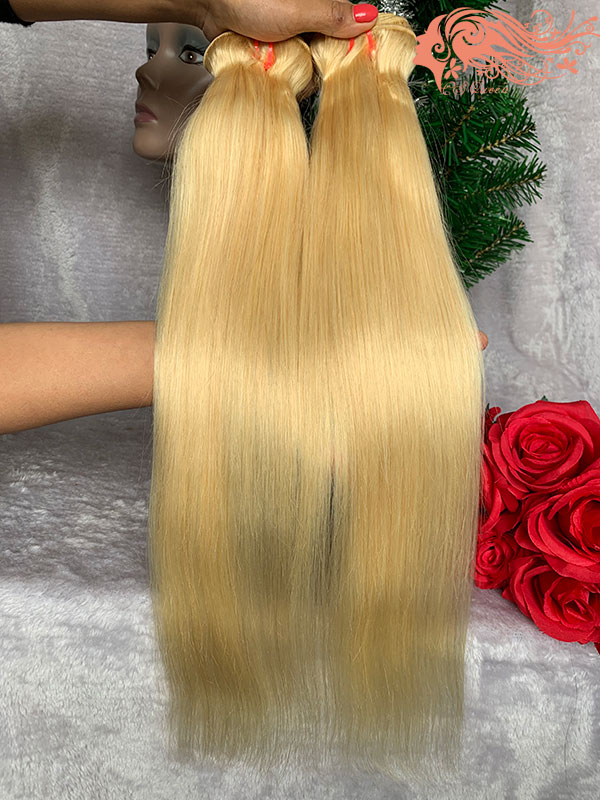 Csqueen 9A 613 Blonde Straight hair 3Bundles with Frontal Unprocessed Hair 100%Human Hair