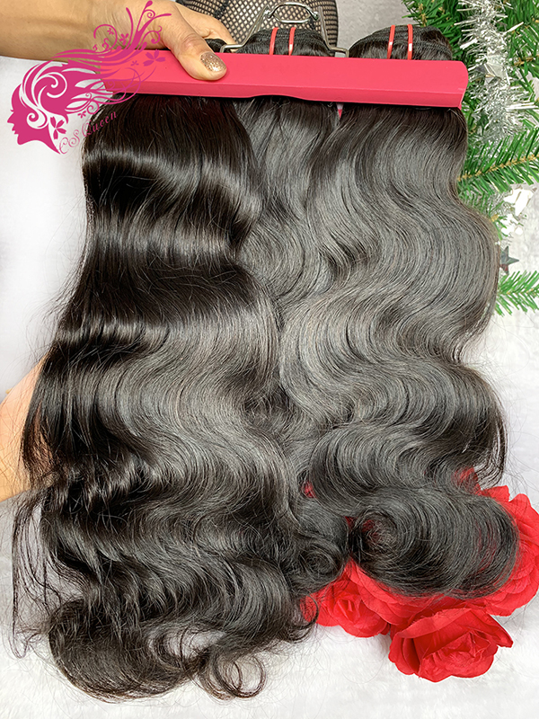 Csqueen 9A Body Wave 3 Bundles with 4 * 4 Transparent lace Closure Brazilian Hair