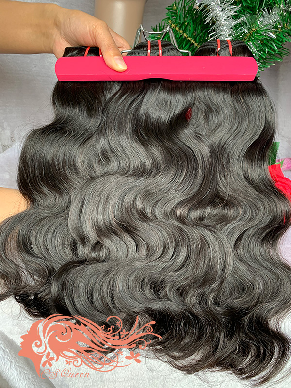Csqueen 9A Body Wave 3 Bundles with 13 * 4 Light Brown Lace Frontal virgin hair