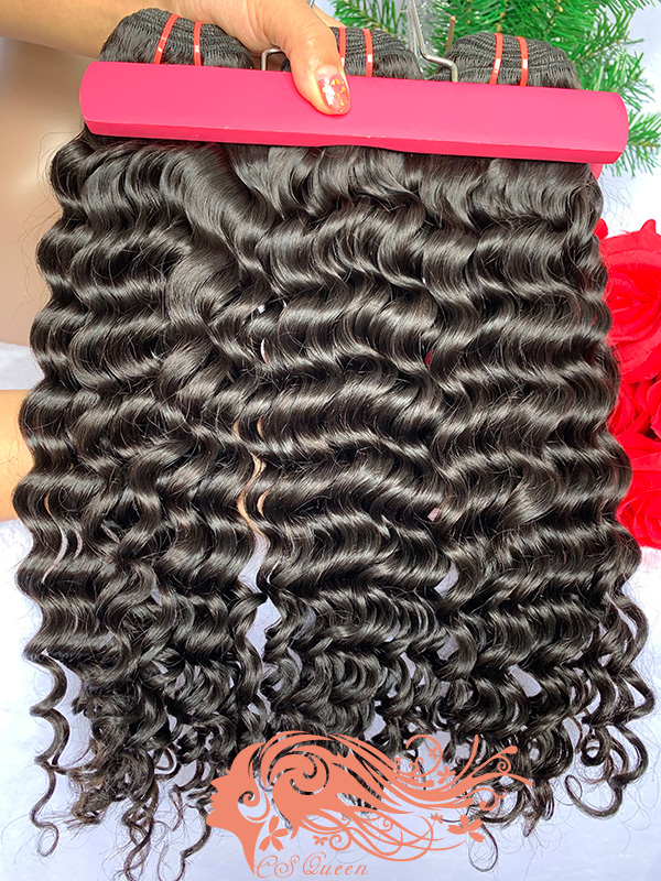 Csqueen 9A Deep Wave 3 Bundles Natural Black Color 100% Human Hair