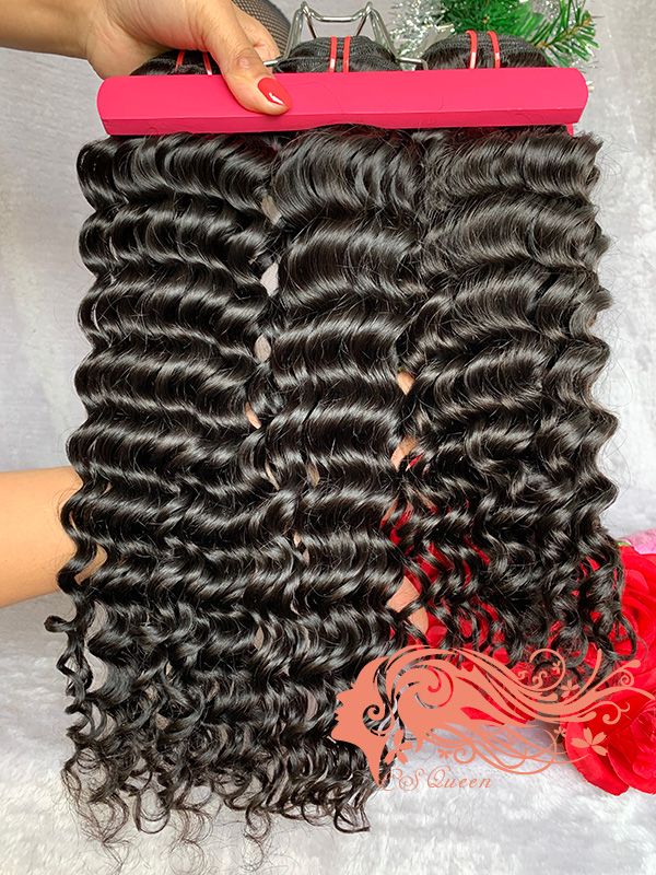 Csqueen 9A Deep Wave 3 Bundles with 13 * 4 Light Brown Lace Frontal Human hair
