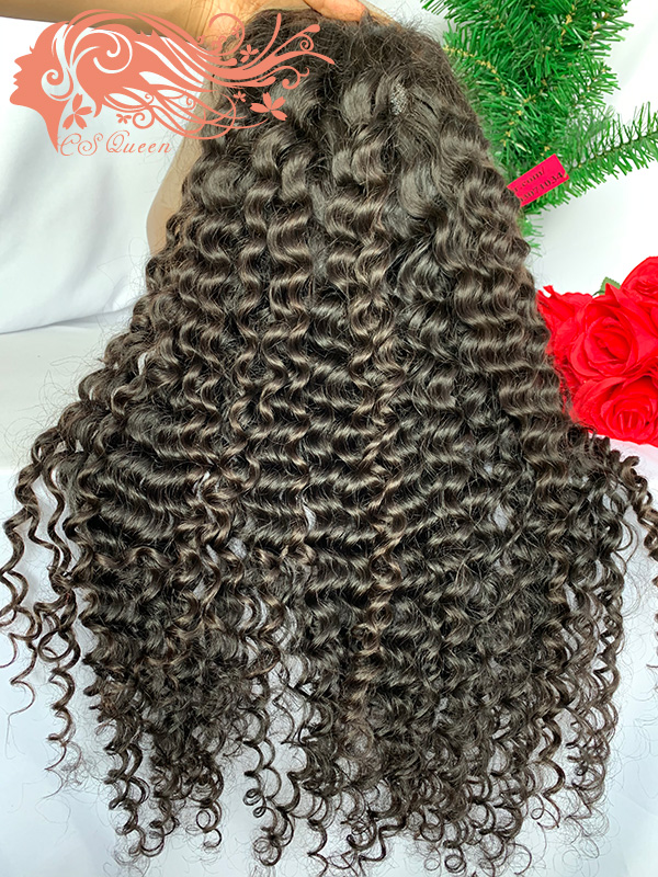 Csqueen 9A Deep Wave 4*4 light browm lace Closure wig 100% human hair 200%density wigs for sale