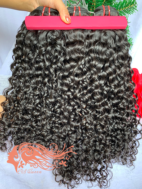 Csqueen 9A Exotic wave 3 Bundles with 13 * 4 Light Brown Lace Frontal virgin hair