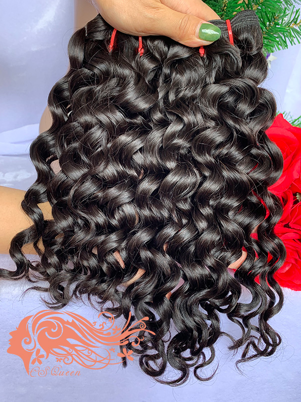 Csqueen 9A French Curly 4 Bundles 100% Human Hair Unprocessed Hair