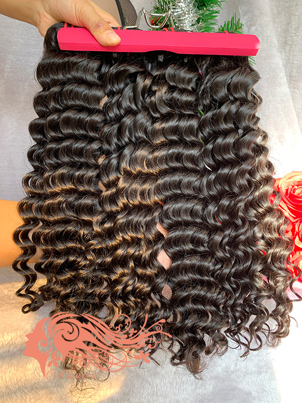 Csqueen 9A Italian Wave 3 Bundles with 13 * 4 Light Brown Lace Frontal Unprocessed hair
