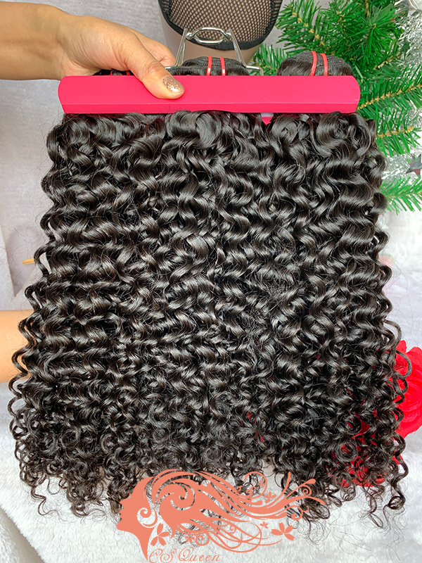 Csqueen 9A Jerry Curly 3 Bundles with 13 * 4 Light Brown Lace Frontal virgin hair