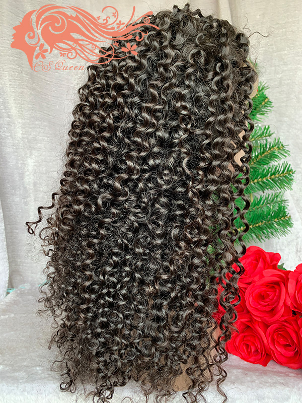 Csqueen 9A Jerry Curly 4*4 light browm lace Closure wig 100% human hair 200%density lace wig