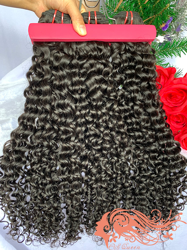 Csqueen 9A Jerry Curly Hair Weave 3 Bundles Unprocessed Virgin Human Hair
