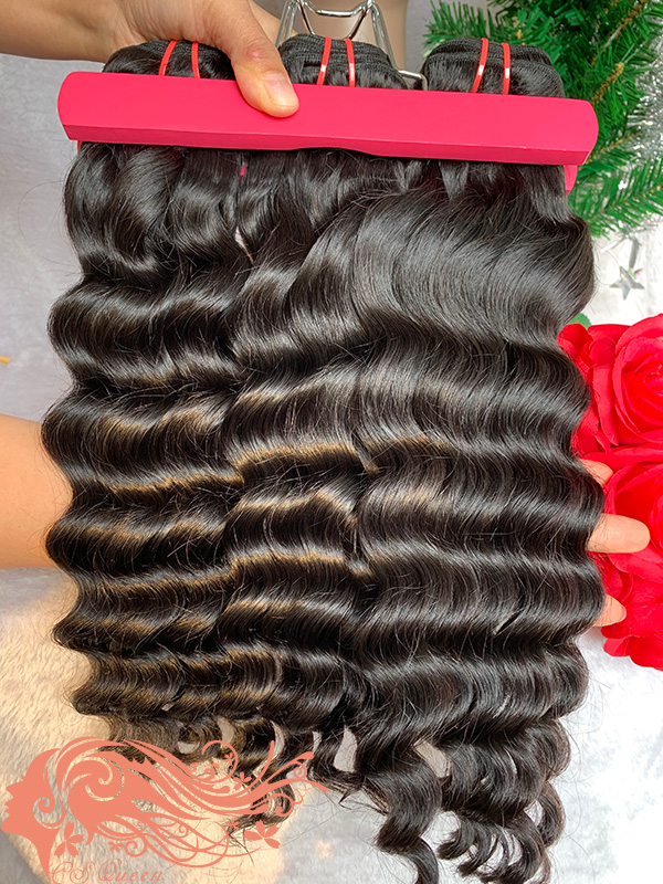 Csqueen 9A Loose Curly 3 Bundles with 13 * 4 Light Brown Lace Frontal Unprocessed hair