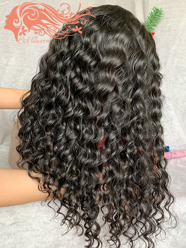 Csqueen 9A Loose Curly 4*4 Transparent Lace Closure wig 100% human hair 150%density wigs