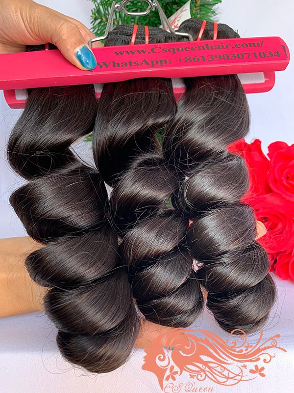 Csqueen 9A Loose Wave Hair Weave 3 Bundles Unprocessed Virgin Human Hair
