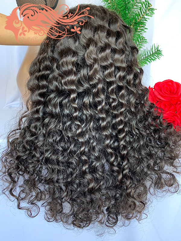Csqueen 9A Majestic Wave 4*4 light browm lace Closure wig 100% human hair 200%density wigs