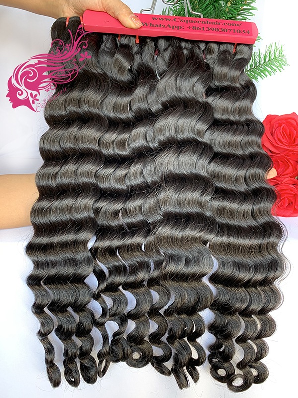 Csqueen 9A Paradise wave 3 Bundles with 13 * 4 Transparent lace Frontal Human hair