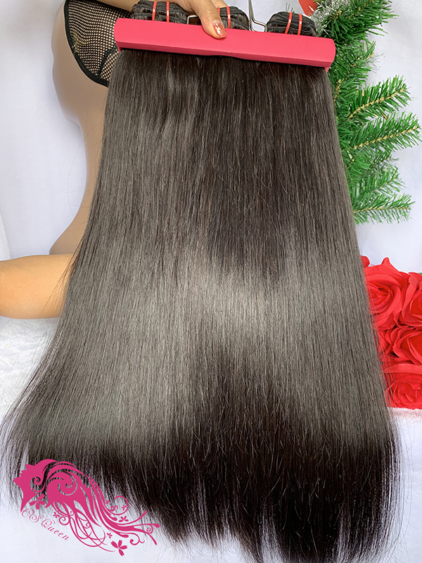 Csqueen 9A Straight hair 3 Bundles with 13 * 4 Transparent lace Frontal Brazilian hair