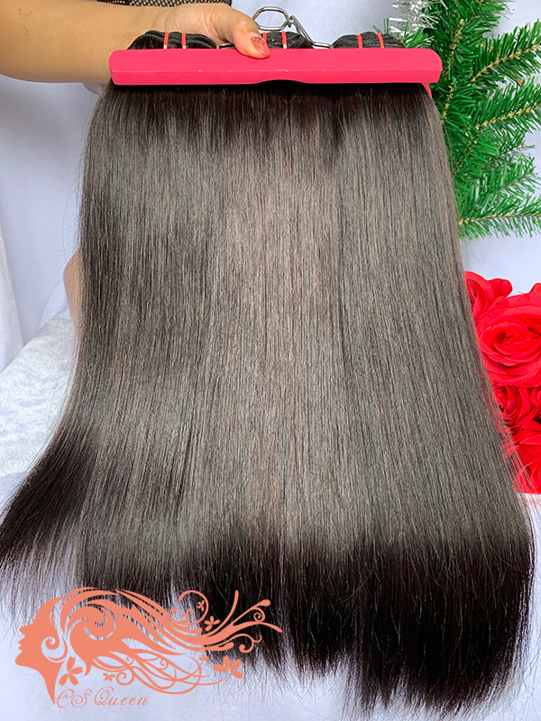 Csqueen 9A Straight hair 3 Bundles with 13 * 4 Light Brown Lace Frontal Brazilian hair