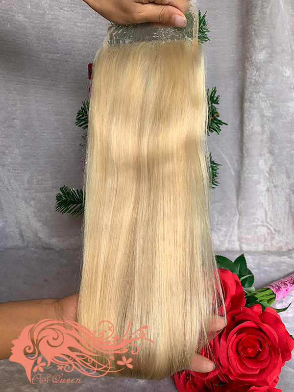 Csqueen 9A Straight hair 4*4 Closure #613 Blonde color Free Part 100% Unprocessed Hair