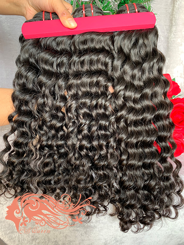 Csqueen 9A Water Wave 3 Bundles with 13 * 4 Light Brown Lace Frontal Unprocessed hair