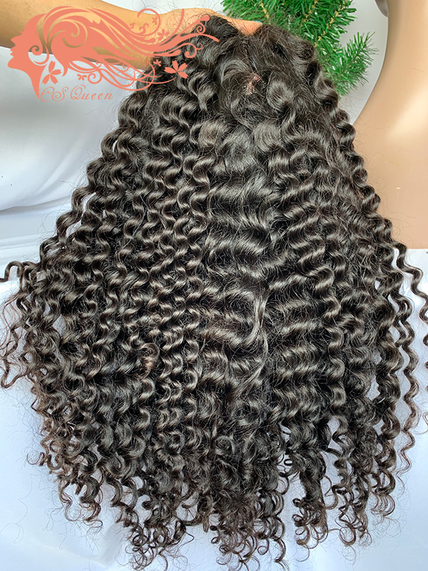 Csqueen 9A Water Wave 4*4 light browm lace Closure wig 100% human hair 200%density wigs for sale