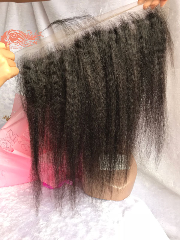 Csqueen 9A Kinky Straight 13x4 Lace Frontal Free Part Human Hair