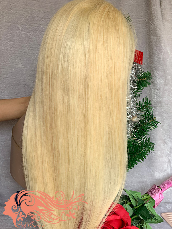 Csqueen 9A hair Straight 5*5 Closure WIG #613 Blonde 100% Virgin Hair 180%density