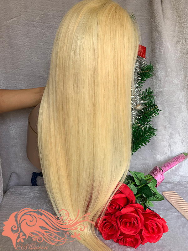 Csqueen 9A hair Straight #613 5*5 Transprent Lace Wig 100% Virgin Hair 180%density