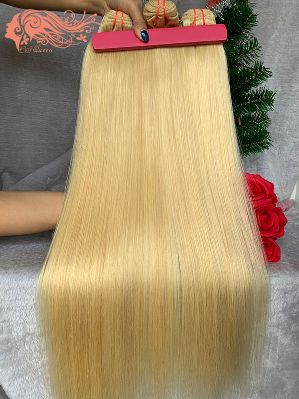 Csqueen 9A 613 Blonde Straight 3Bundles Human Hair Bundles Unprocessed Hair