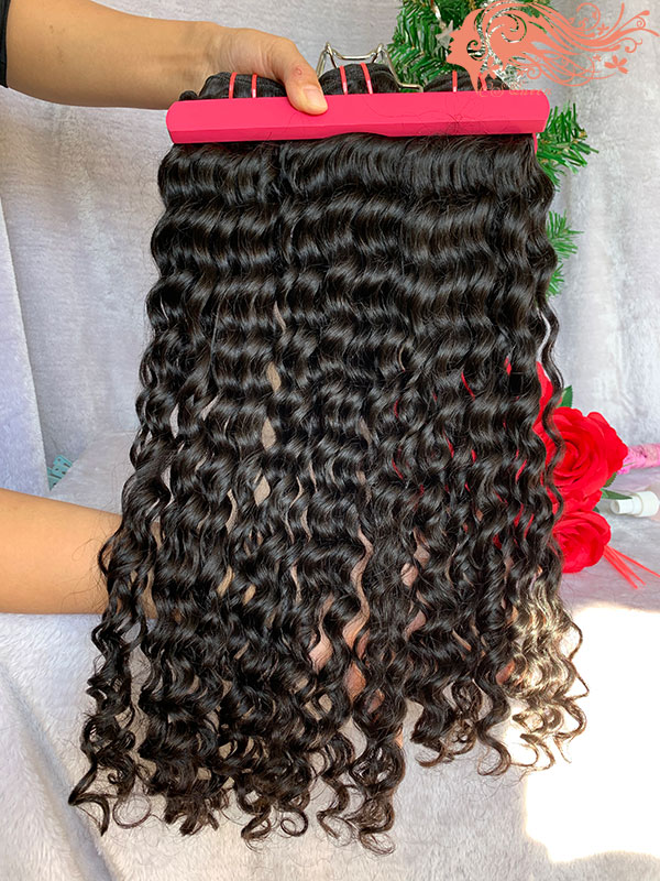 Csqueen Raw Bouncy Curly 3 Bundles with Frontal Unprocessed hair