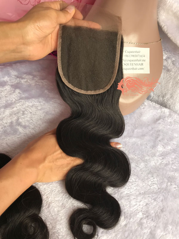 Csqueen Mink Hair Body Wave 4X4 Free Part Lace Closure 100% Human Hair