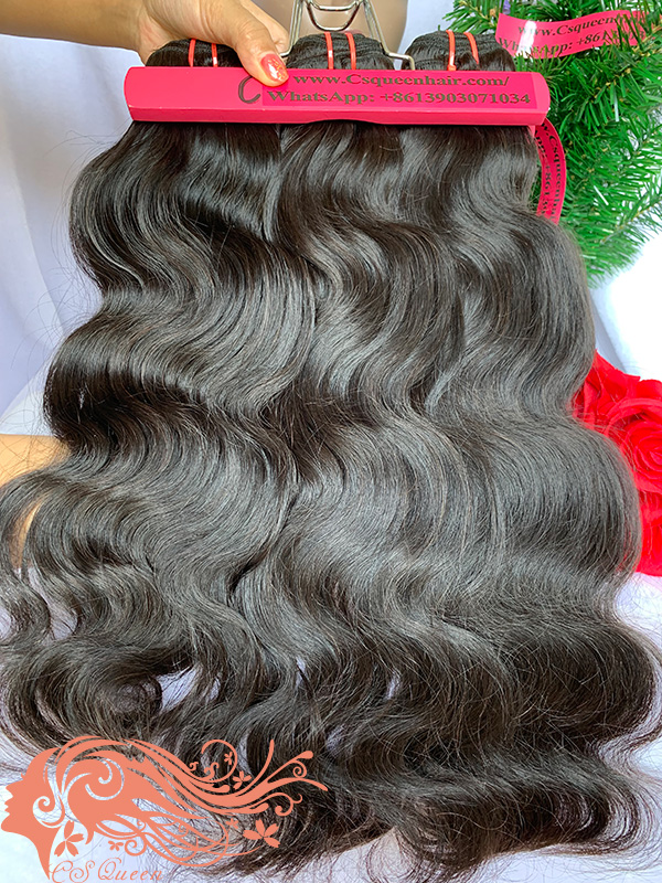 Csqueen Mink hair Body Wave 4 Bundles Natural Black Color 100% Human Hair