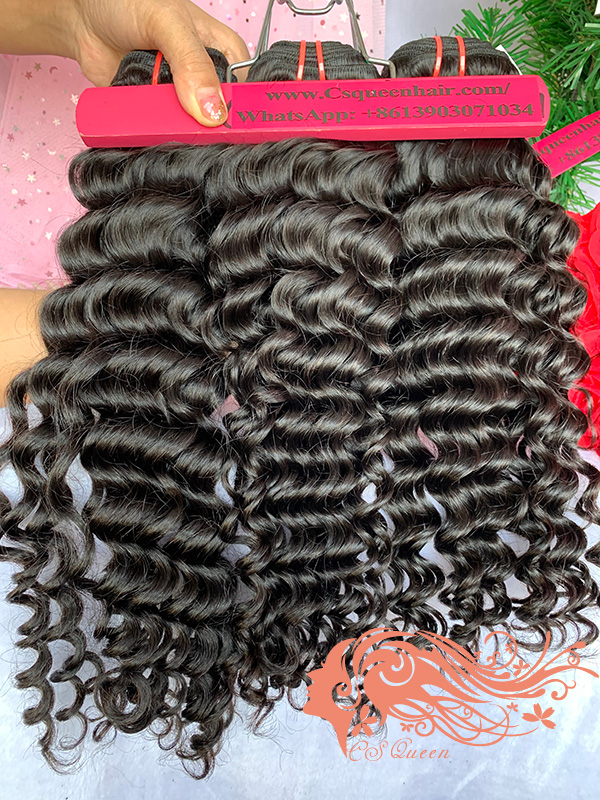 Csqueen Mink hair Deep Wave 5 Bundles Natural Black Color 100% Human Hair